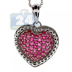 Womens Ruby Heart Pendant Necklace Sterling Silver 1.74ct 18""
