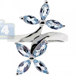 925 Sterling Silver Iolite Topaz Womens Double Flower Ring
