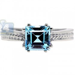 925 Sterling Silver Asscher Blue Topaz Solitaire Womens Ring