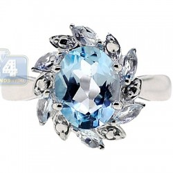 925 Sterling Silver 2.68 ct Blue Topaz Womens Flower Ring