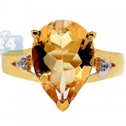 Yellow Gold 925 Sterling Silver Citrine White Topaz Womens Ring