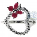 925 Sterling Silver 0.49 ct Ruby Diamond Open Heart Butterfly Ring