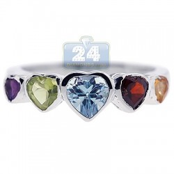 925 Sterling Silver Multi Colored Gemstone Hearts Womens Ring