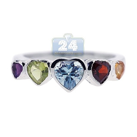 925 Sterling Silver 1.45 ct Multi Colored Gemstone Hearts Womens Ring
