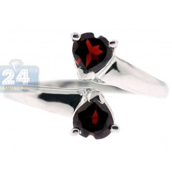 925 Sterling Silver 1.00 ct Garnet Double Heart Womens Ring