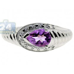 925 Sterling Silver 1.64 ct Purple Amethyst Solitaire Womens Ring