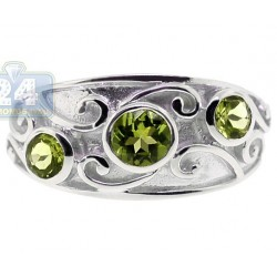 925 Sterling Silver 1.24 ct Green Peridot Womens Vintage Ring