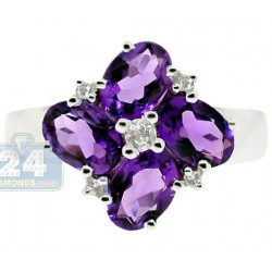 925 Sterling Silver Purple Amethyst White Topaz Flower Ring