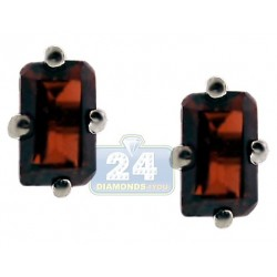 Womens Garnet Small Stud Earrings 925 Sterling Silver 0.88 ct