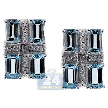Sterling Silver 1.0 ct Blue Topaz Womens Rectangle Stud Earrings
