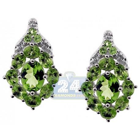 Womens Peridot Cluster Stud Earrings 925 Sterling Silver 5.90 ct