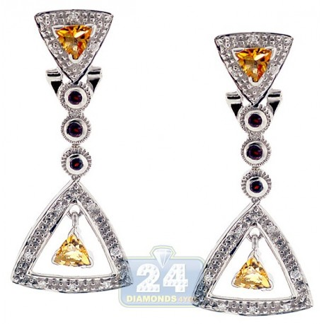 Womens Gemstone Triangle Drop Earrings 925 Sterling Silver 1.28 ct