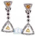 925 Sterling Silver 1.28 ct Gemstone Womens Triangle Earrings