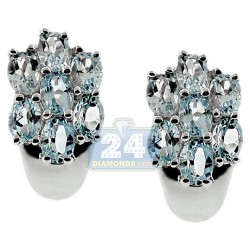 Sterling Silver 3.50 ct Blue Topaz Cluster Womens Stud Earrings