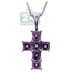 Womens Purple Amethyst Cross Pendant Necklace Sterling Silver