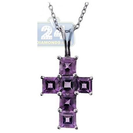 womens purple amethyst cross pendant necklace sterling silver. Black Bedroom Furniture Sets. Home Design Ideas