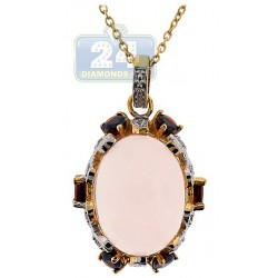 925 Sterling Silver 12.29ct Rose Quartz Drop Pendant Necklace