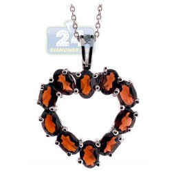 Womens Garnet Heart Pendant Necklace Sterling Silver 6.50ct