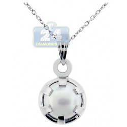 Womens Cultured Pearl Drop Pendant Necklace Sterling Silver