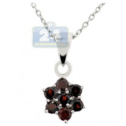 Womens Garnet Cluster Flower Pendant Necklace Sterling Silver