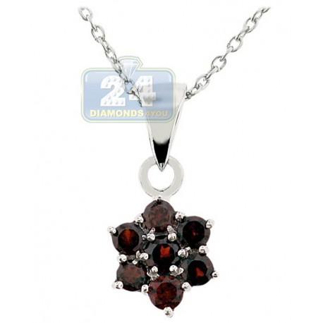 Womens garnet cluster flower pendant necklace sterling silver aloadofball Gallery