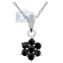 Womens Sapphire Cluster Flower Pendant Necklace Sterling Silver