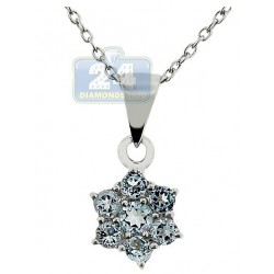 Womens Topaz Cluster Flower Pendant Necklace Sterling Silver