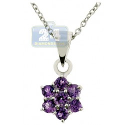 Womens Amethyst Cluster Flower Pendant Necklace Sterling Silver