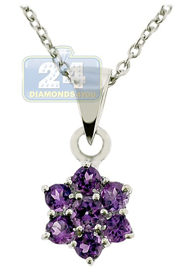 necklace with amethyst and flowers