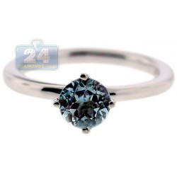 925 Sterling Silver 1.10 ct Blue Topaz Womens Solitare Ring