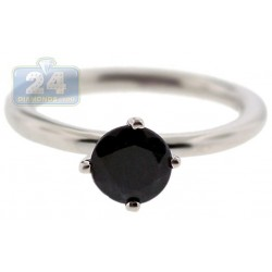 925 Sterling Silver 1.10 ct Black Sapphire Solitare Womens Ring