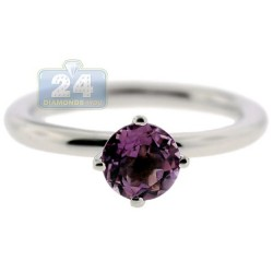 925 Sterling Silver 0.90 ct Purple Amethyst Solitare Womens Ring