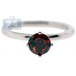 925 Sterling Silver 1.10 ct Red Garnet Solitare Womens Ring