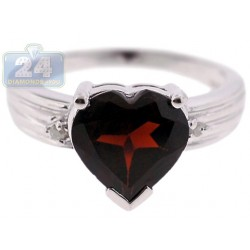 925 Sterling Silver 3.53 ct Garnet Heart Womens Ring