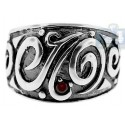 925 Oxidized Sterling Silver Vintage Pattern Womens Ring