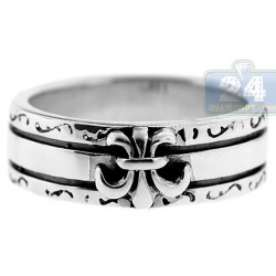 925 Oxidized Sterling Silver French Fleur de Lys Unisex Ring