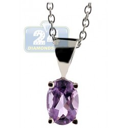 Womens Purple Amethyst Drop Pendant Necklace Sterling Silver