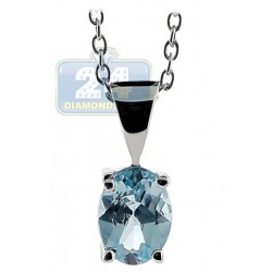 Womens Blue Topaz Drop Pendant Necklace 925 Sterling Silver