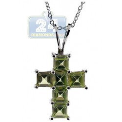Womens Peridot Cross Pendant Necklace Sterling Silver 2.40ct