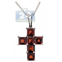 Womens Garnet Cross Pendant Necklace 925 Sterling Silver 3.0ct