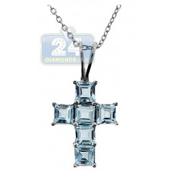Womens Blue Topaz Cross Pendant Necklace Sterling Silver 3.0ct