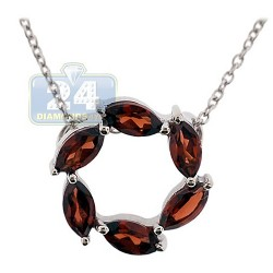 Womens Garnet Circle of Love Pendant Necklace Sterling Silver