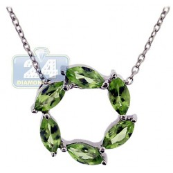 Womens Peridot Circle of Love Pendant Necklace Sterling Silver