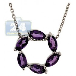 Womens Amethyst Circle of Love Pendant Necklace Sterling Silver