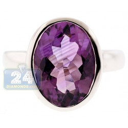 925 Sterling Silver 6.00 ct Amethyst Solitaire Womens Signet Ring