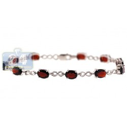 925 Sterling Silver 11.00 ct Garnet Womens Bracelet 7 1/2 Inches