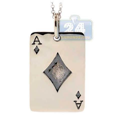 Solid Oxidized 925 Sterling Silver Playing Card Ace Pendant