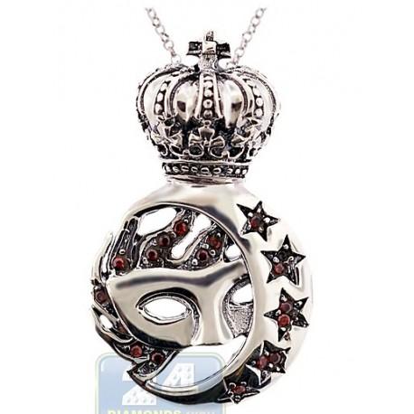 Oxidized Sterling Silver Vintage Venetian Mask Moon Pendant