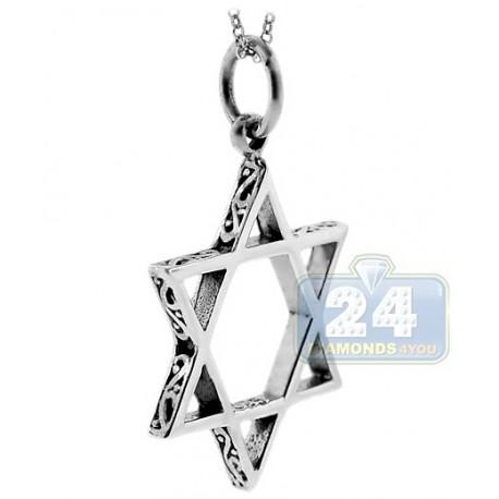 Oxidized 925 Sterling Silver Star of David Jewish Pendant