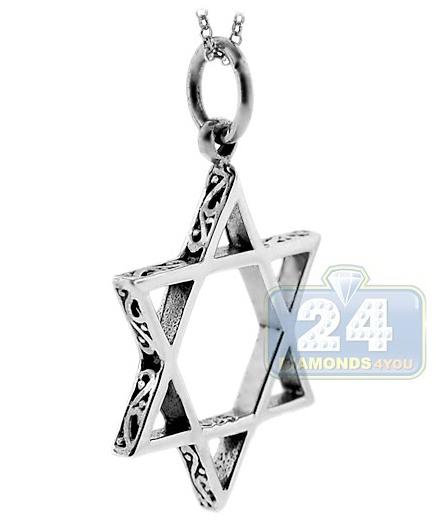 Oxidized 925 sterling silver star of david jewish pendant aloadofball Choice Image